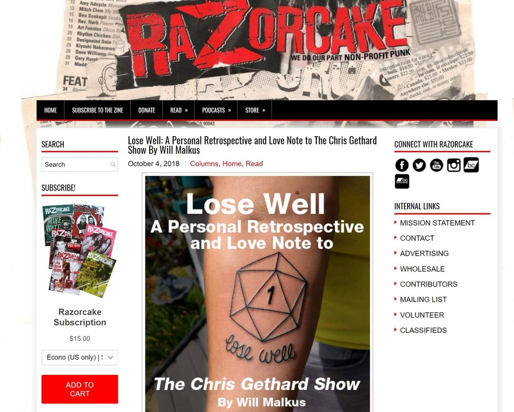 Lose Well: A Personal Retrospective and Love Note to The Chris Gethard Show - Webcolumn for Razorcake, 2018