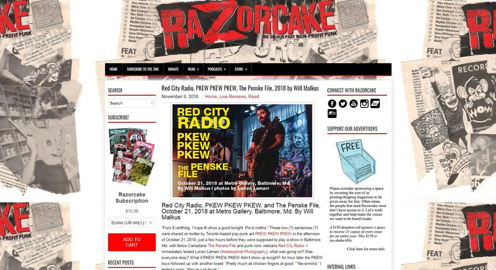 Red City Radio, PKEW PKEW PKEW, and The Penske File at Metro Gallery - Live Music Review for Razorcake, 2018