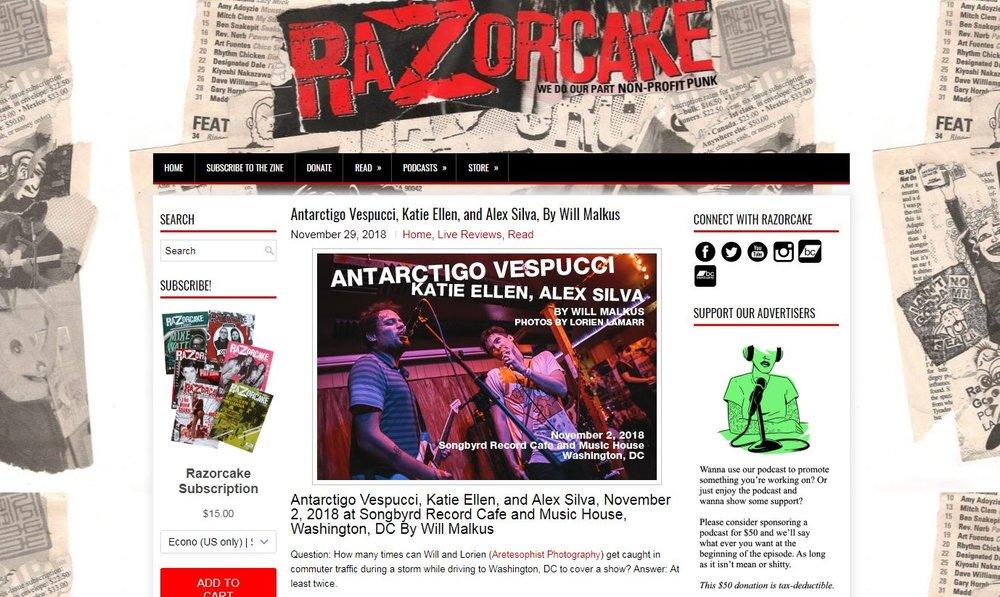 Antarctigo Vespucci, Katie Ellen, and Alex Silva at Songbyrd Record Cafe and Music House - Live Music Review for Razorcake, 2018