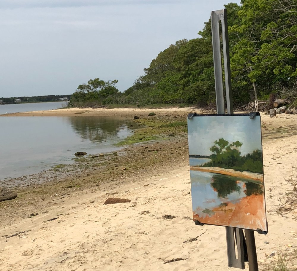 Working plein air provided by artist member  Sharon McCann Daly .