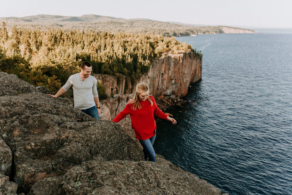 Palisade Head, MN hiking engagement photos