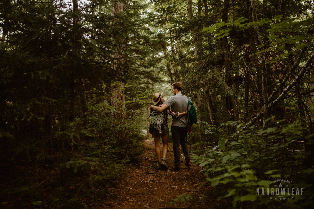 Hiking engagement photography in Minnesota