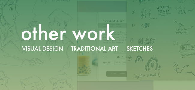 Things I Love: Design as a Hobby  Daily UI practices, logo sketches, traditional sketches, and a surprising amount of yarn.