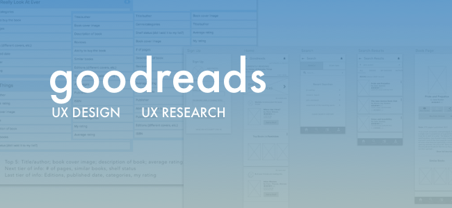 App Redesign: Designlab Capstone  The Goodreads app is jam-packed with features, bu what do readers want to be able to do easily with the app? An independent student project designed from the project brief onward, this was a leap into information architecture and UX research.