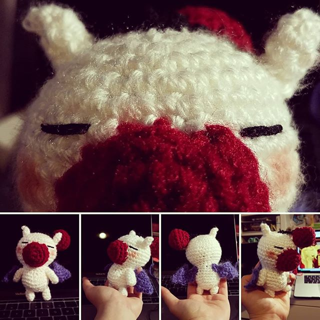 Sup, kupo. Pretty happy with v1 of le Moogle, but the wings need to be tinier and I need probably different yarn for the nose...but otherwise I'm tickled. #amigurumi #finalfantasy #moogle #crochet #robbinyarns