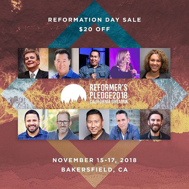 TODAY ONLY (October 31) // To celebrate Reformation Day, we're offering #RP2018 tickets for $20 off today! . Register now: reformerspledge.com
