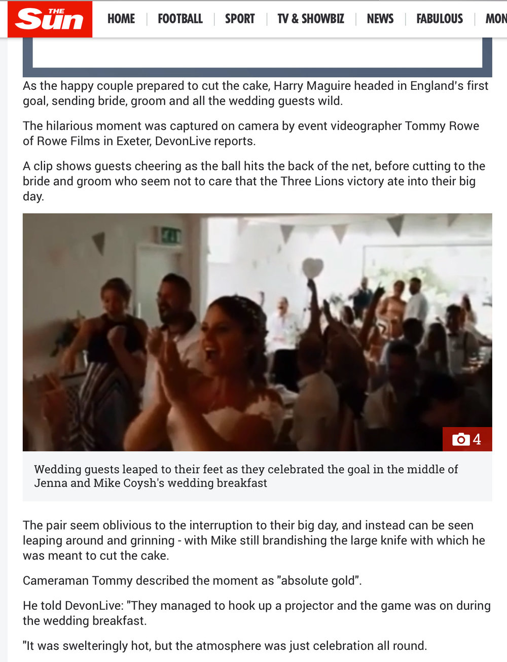 UK wedding videographer national newspaper
