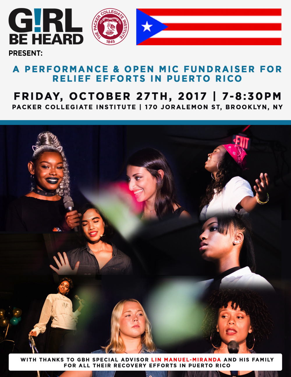Fundraiser For Puerto Rico!!! - Friday, October 27th we will be having a fundraiser from 7-8:30PM. Please join us at the performance & open mic for Puerto Rico relief. Packer Collegiate Institute 170 Joralemon St Brooklyn, NYSee you there!