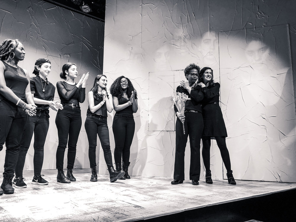 Kim Sykes, Artistic Director  and  Jessica Greer Morris, Executive Director  with the cast of  INDIVISIBLE  Girl Be Heard's 2018 MainStage Show.