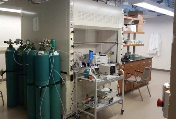 Specialty Gas Lab - Special facility for handling toxic gases including sulfur dioxide, hydrogen sulfide, NOx, and chlorine.