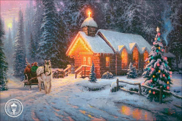 kinkade-2009-christmas-chapel-one-art-thomas-gallery-holiday-painting