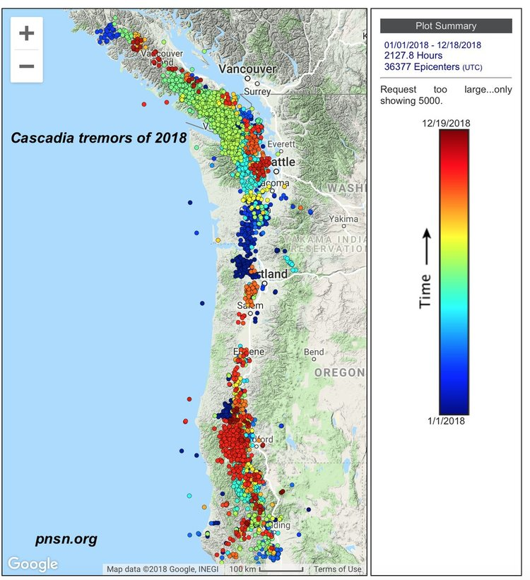 Cascadia Subduction Zone Tremors: 36,377 in 2018 — Department of on