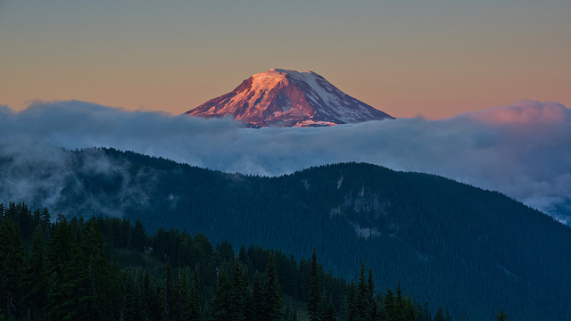 #3 Pahto (Mt. Adams) - Elevation: 12,280ft / 3,740mIndigenous Names: Pahto, Paddo, or KlickitatLocation: Washington StateCoordinates: 46°12′09″N 121°29′27″WLast Eruption: About 950 ADBecause of Mt. Pahto's flat dome top, it is sometimes confused with the larger Mount Rainier. In the Bridge of the Gods legend of the Klickitat people, it is said that the god Pahto, lost the lover of the maiden Loowit (Mt. St. Helens) to Wy'east (Mt. Hood) and hung his head in shame. Mount Adams is located in Southern Washington and guards the Columbia River. It has long been dormant, but is not considered extinct.