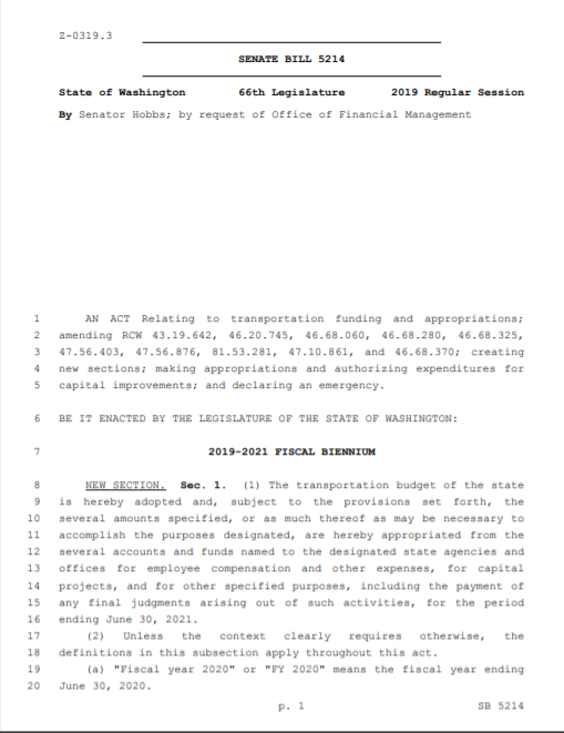 Appropriations Bill for Cascadia High Speed Rail Authority 2019 (PDF)