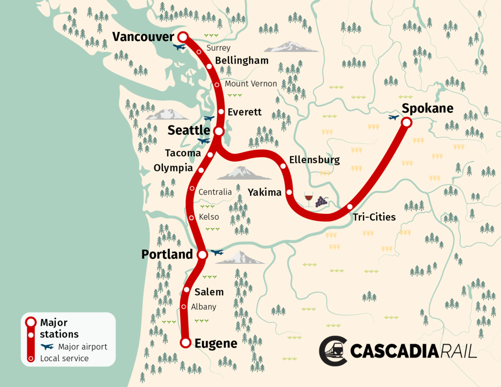 A potential map of Cascadia High Speed Rail along the Cascadia Corridor, and out to Spokane. Artwork by Oran Viriyincy