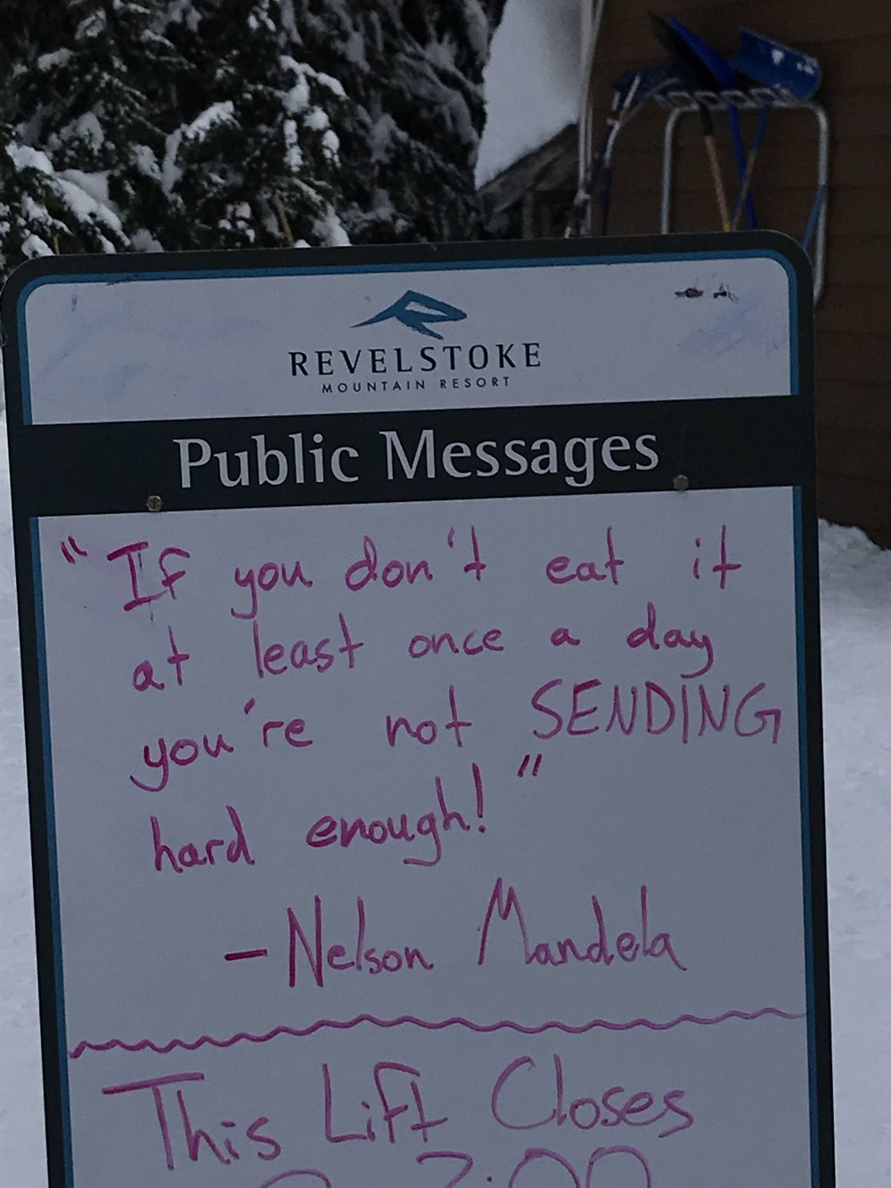 Wise words at Revelstoke.