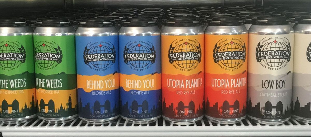 """Four signature beers now available in 16 oz cans from Federation Brewing: """"In The Weeds"""" IPA, """"Behind You!"""" Blonde Ale, """"Utopia Planitia"""" Red Rye, & """"Low Boy"""" Oatmeal Stout."""