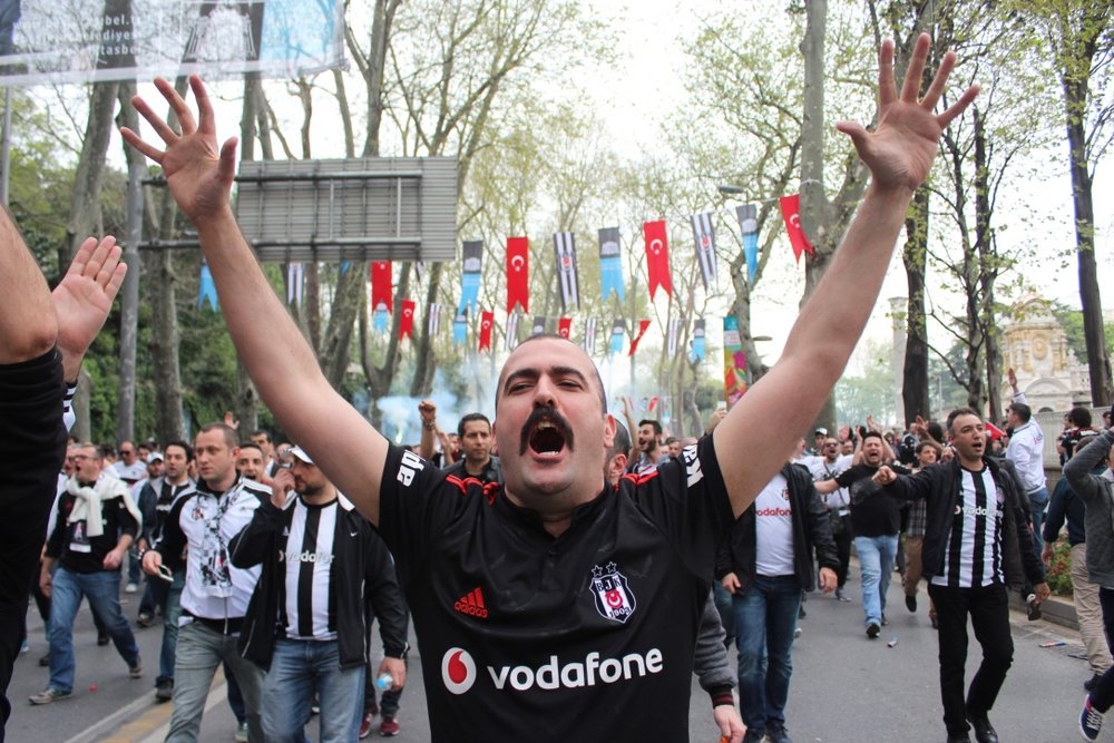 Besiktas fans head to the first match at their new stadium – the 'Vodafone Park'. (11 April 2016 - Patrick Keddie).