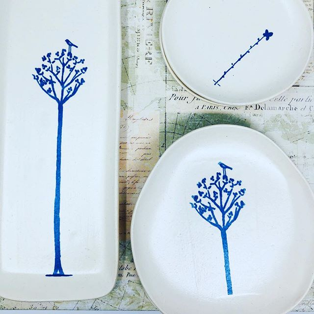 #ikr #blue #ceramics #screenprinting #littledishes #artistsoninstagram #paper
