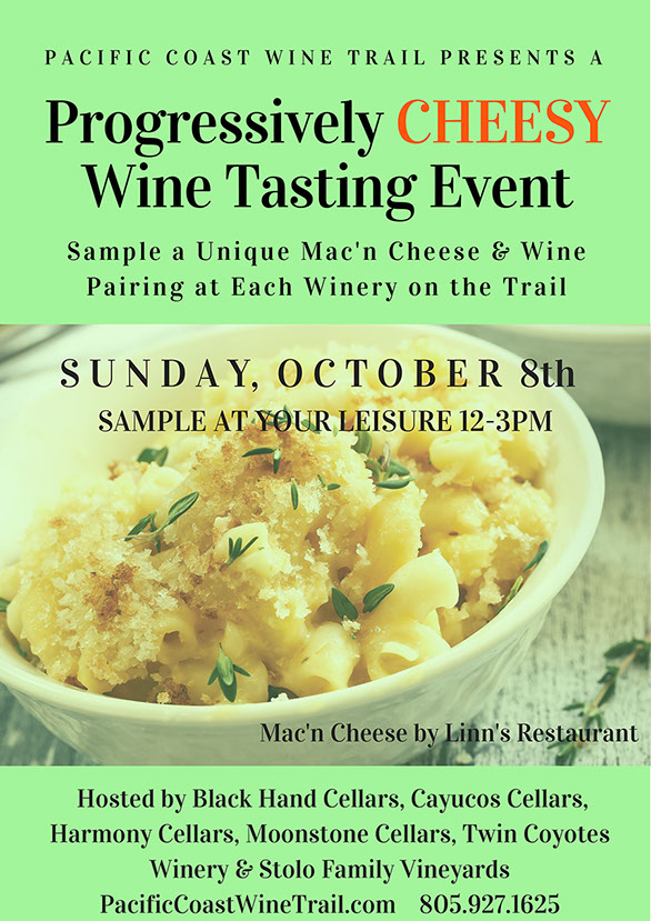 Mac & Cheese pairing is FREE with purchase of a tasting fee at each winery.    That's FREE for club members!  We will have Bacon & Cheddar Mac & Cheese.  The rest?  That's for you to find out!