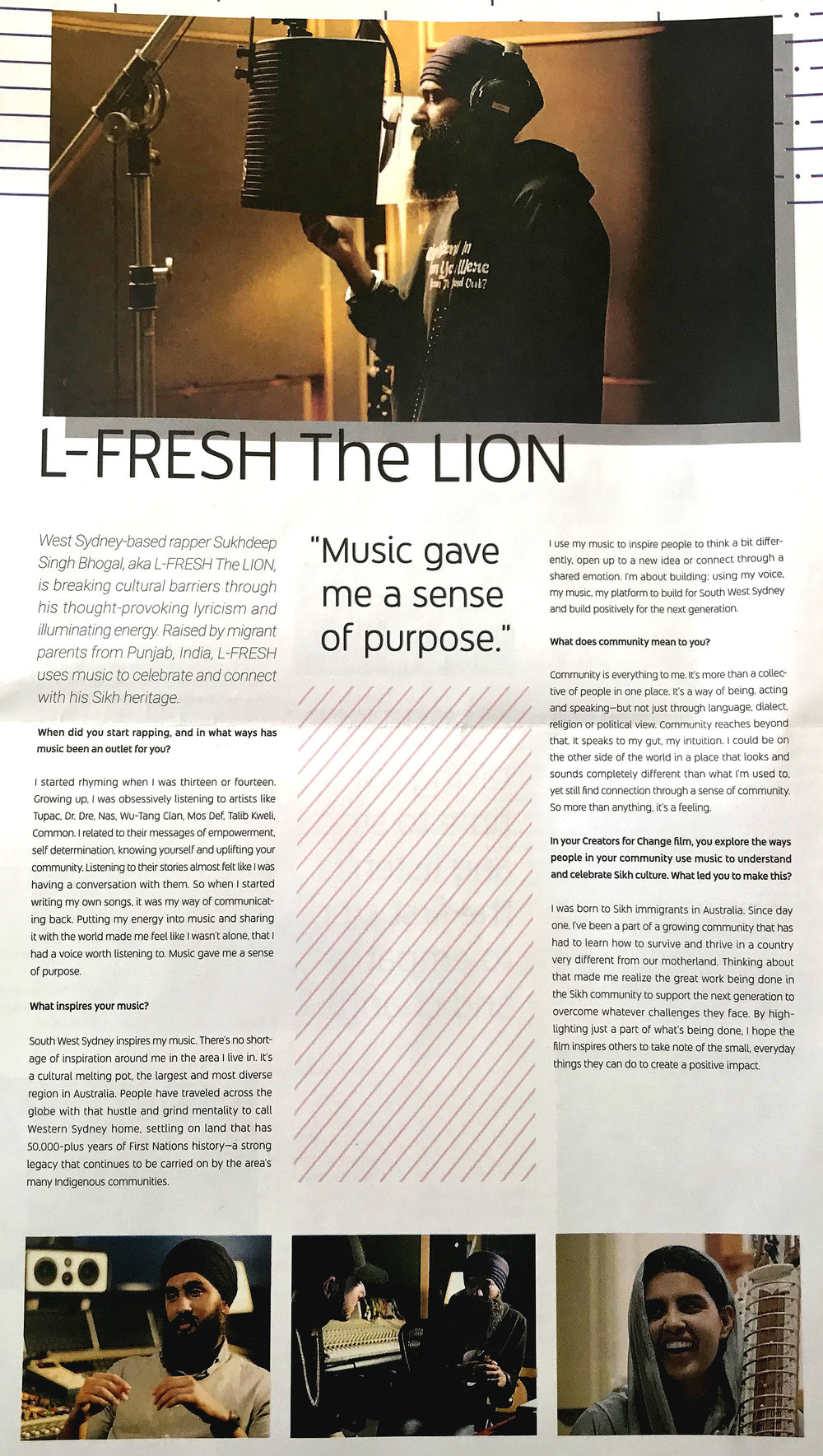 L-FRESH The LION feature in NY Times (2018) as a YouTube Creators for Change Ambassador