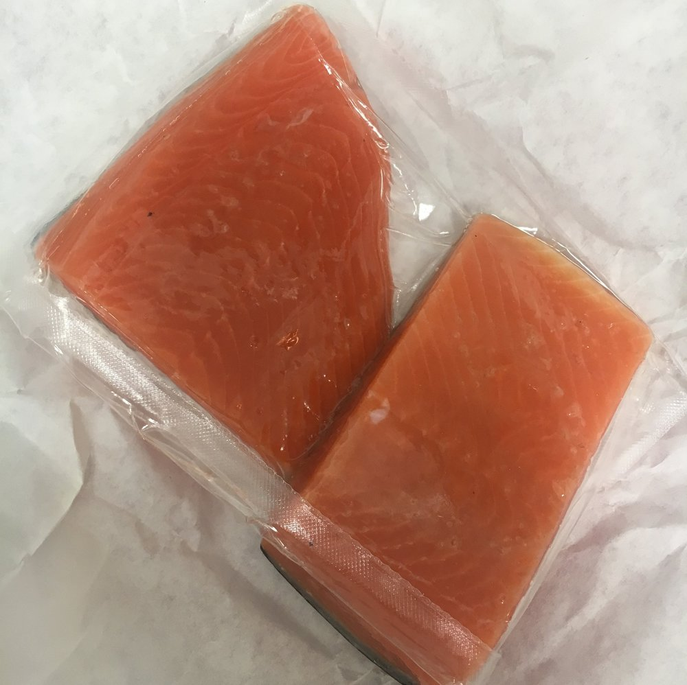 6 oz portions of Alaskan coho salmon, thawed in the refrigerator overnight.