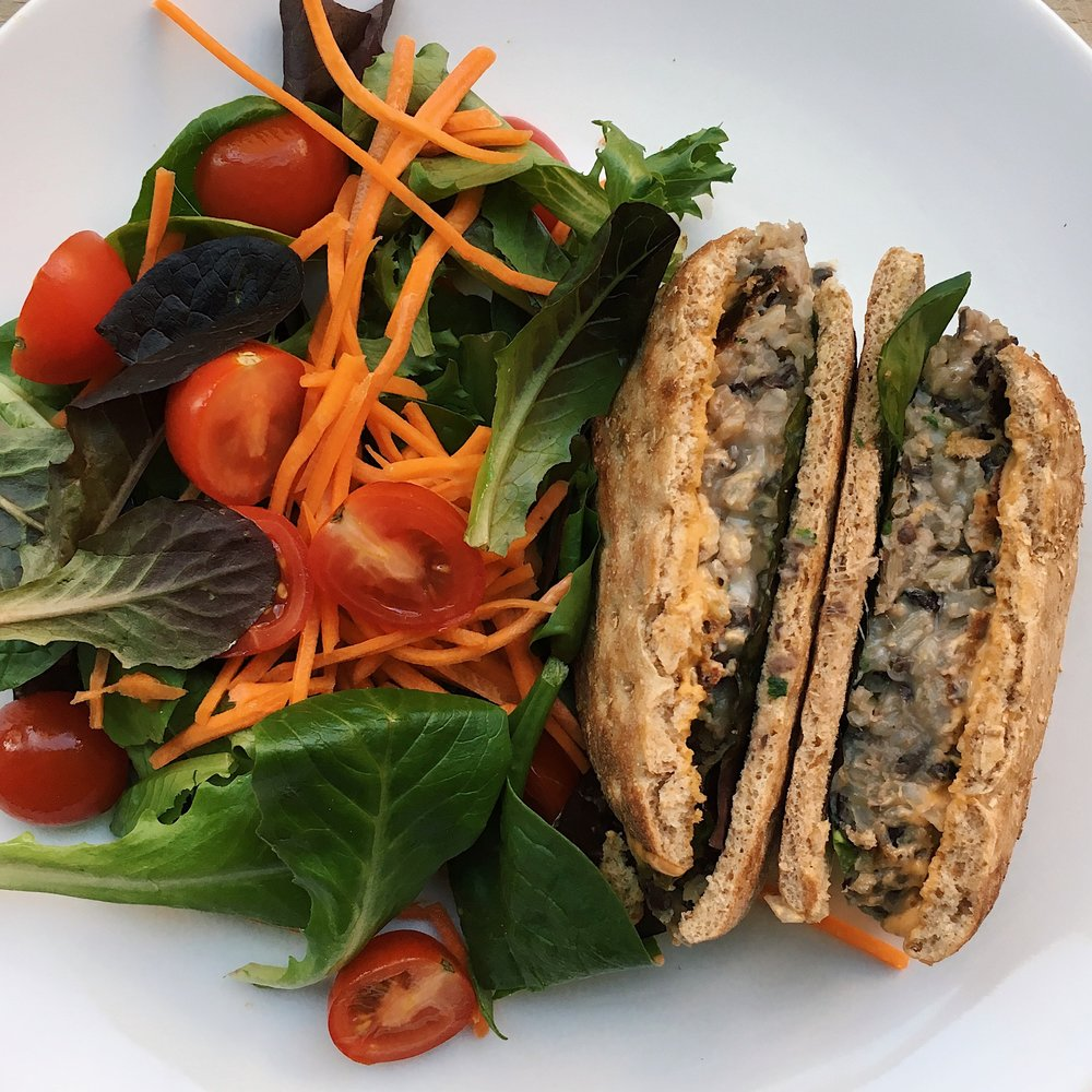 Black bean burgers with a side salad