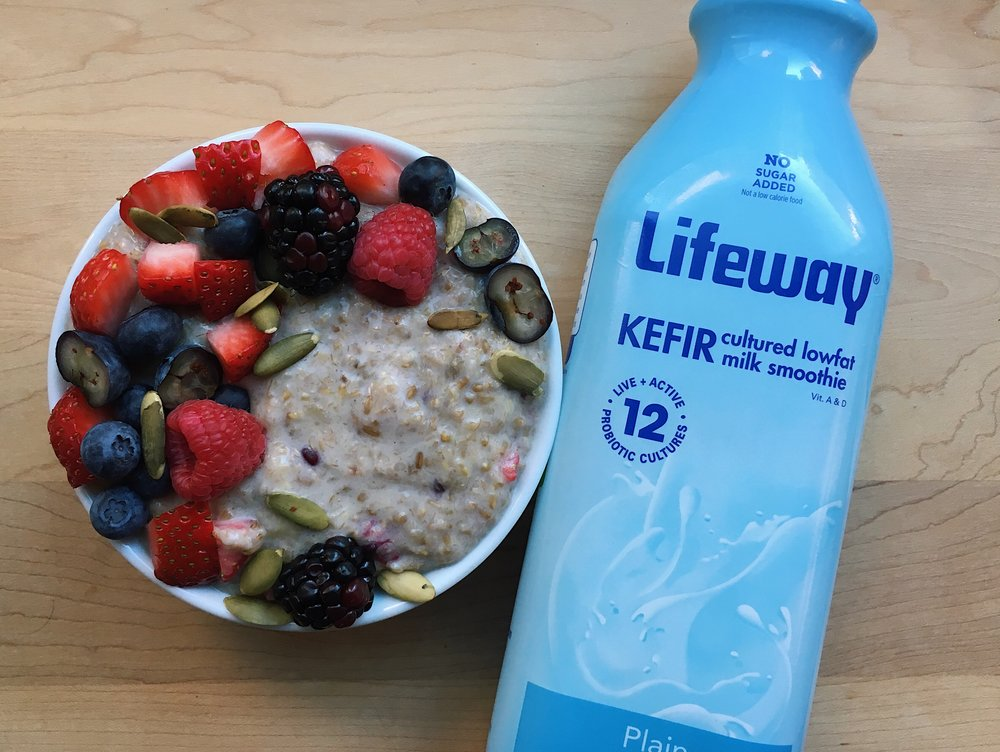 Oatmeal made creamy with Lifeway Kefir