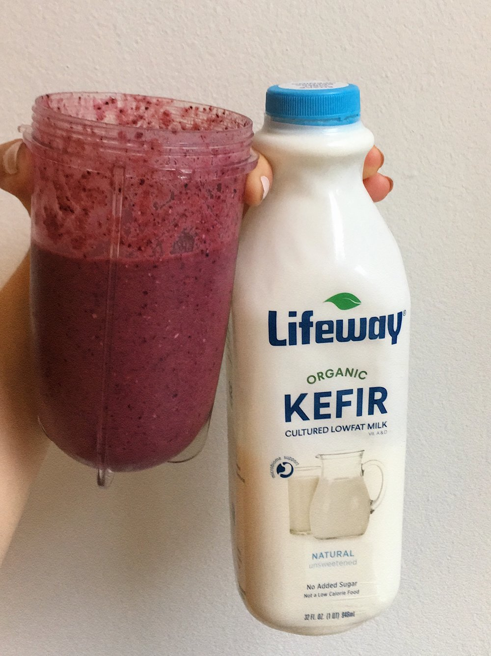 Blueberry smoothie with Lifeway Kefir
