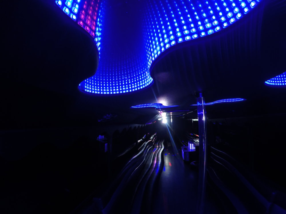 Interior Shot of Blue Infinity Lights in Liberty Bus