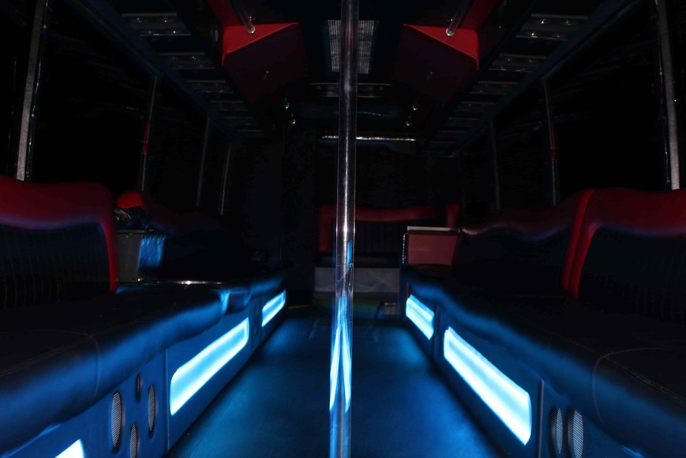 Patriot Party Bus Low Angle Shot of the LED Foot Pills
