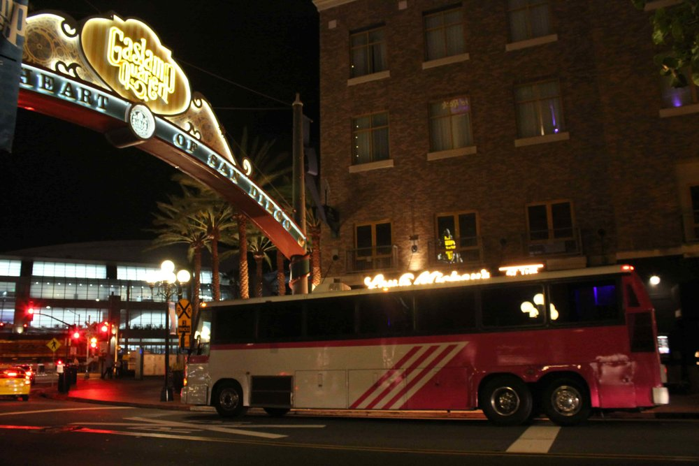 Closer angle of Pinkie Party Bus under the Famous Gaslamp Signage