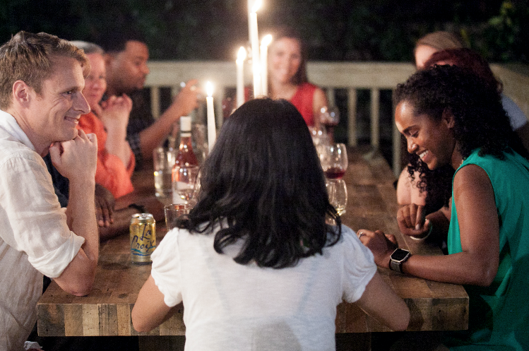 A structured format creates a safe space for sharing - A Civic Dinner follows a simple structure, with 6-10 people gathering over a meal to discuss a specific topic. The host follows a simple guide with three big questions, allowing everyone equal time to share with one voice at a time. This format is designed to avoid debate or dominant voices, and instead encourages listening and understanding of different perspectives.