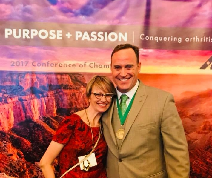 "November 2017: With ""American Ninja Warrior"" host and ""Celebrity Apprentice"" champion Matt Iseman--who also has rheumatoid arthritis--at the 2017 Arthritis Foundation Conference of Champions, Phoenix, AZ."
