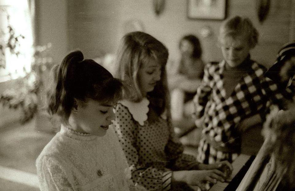 In  Sonata , I write about Schubertiades and my own warmest, fondest memories of being at the piano, surrounded by friends and family. Here I am with some classmates circa 1988 or so. Photo credit: Gary Madonna.
