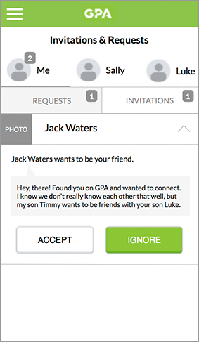Friend request wireframe