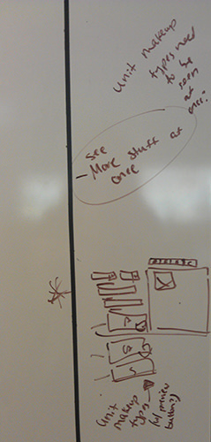 Design iteration (on whiteboard)