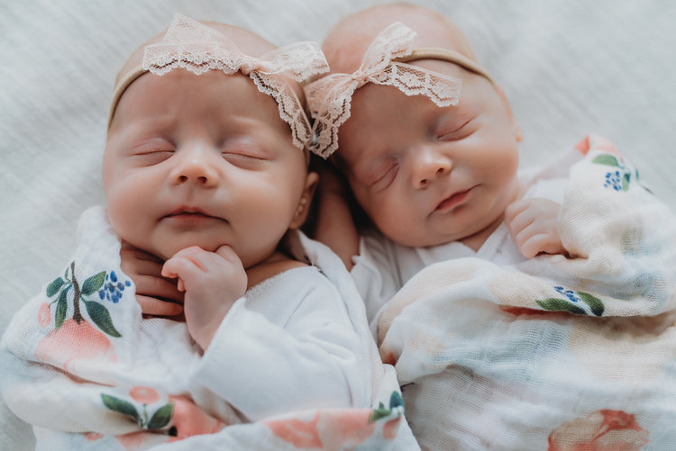 Twin girls sleeping