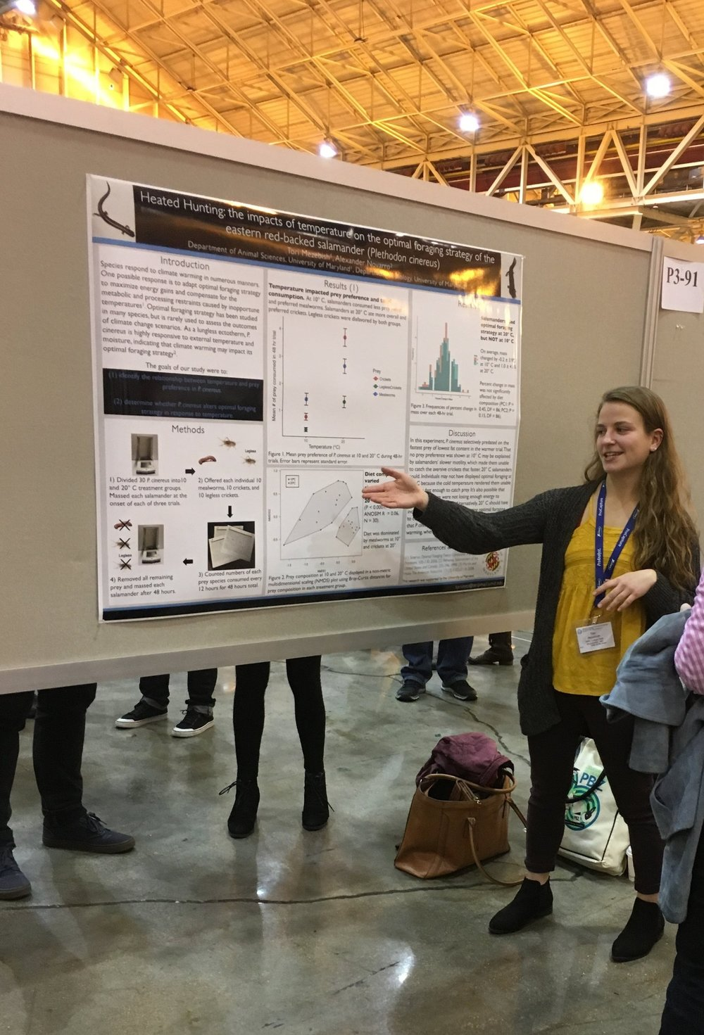 Tori Mezebish   I met Tori in 2015, as an undergraduate at the University of Maryland, and she's been a critical part of several lab projects. Tori completed an independent project measuring salamander diet at different temperatures in the lab and presented her results at SICB in 2017. She also took the lead on a  paper  investigating  climbing behavior  in response to community composition in  Plethodon  communities, and is a co-author on a study comparing  stress hormones  and performance at different temperatures in salamanders from a latitudinal population gradient. Tori graduated in 2017 and is working towards a master's degree in the Warnell School of Forestry and Natural Resources at UGA.
