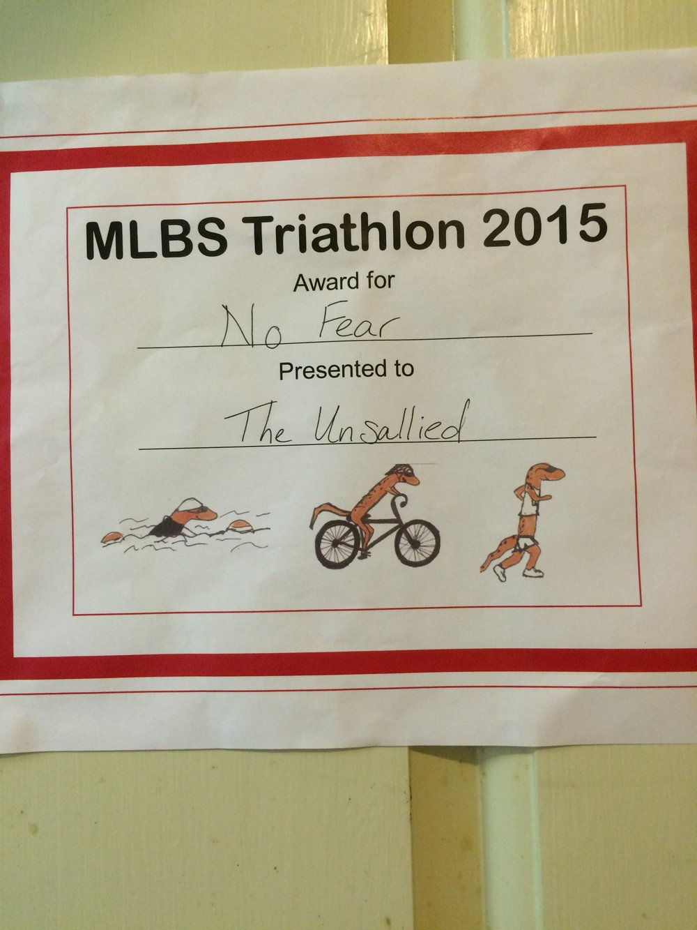 "Salamander Crew triathlon ""award"" at MLBS"