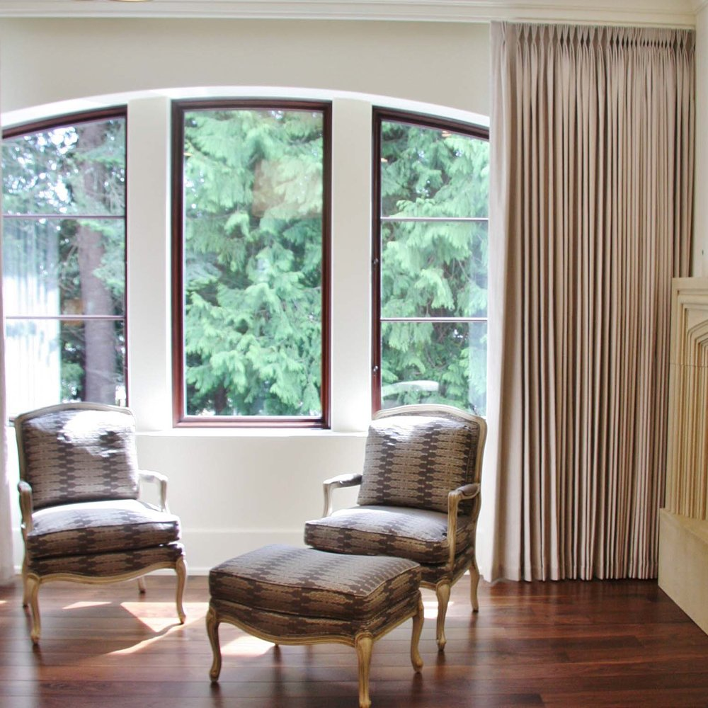 Motorized pinch pleat curtains, blackout