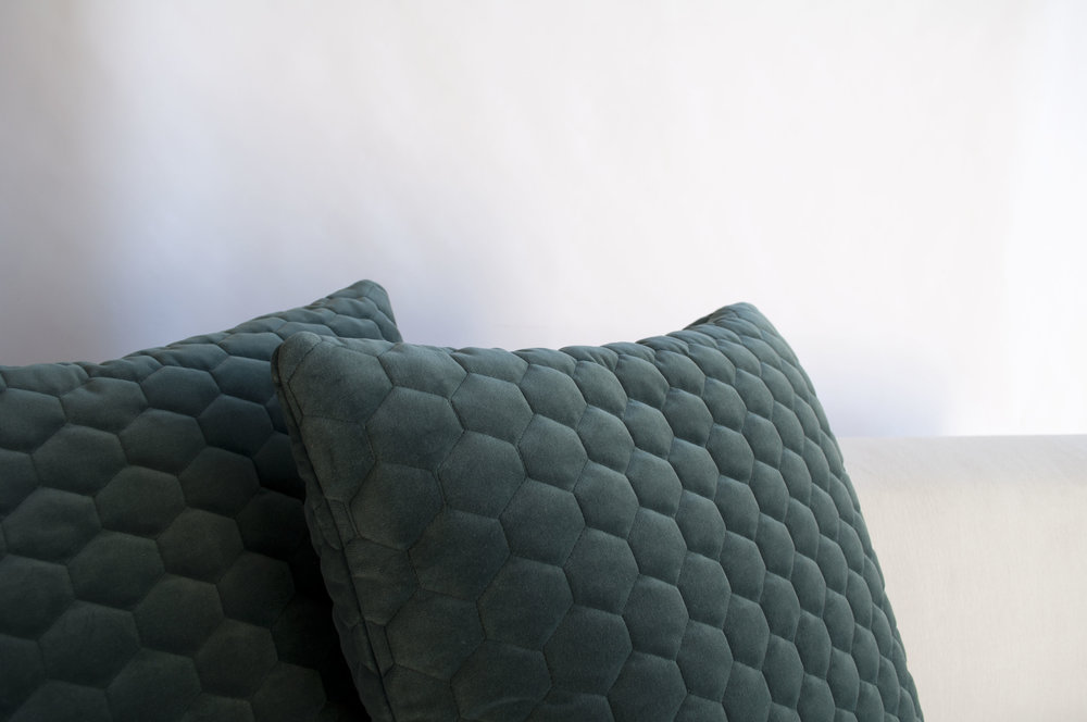 knife edge toss pillows with an invisible zipper and feather insert