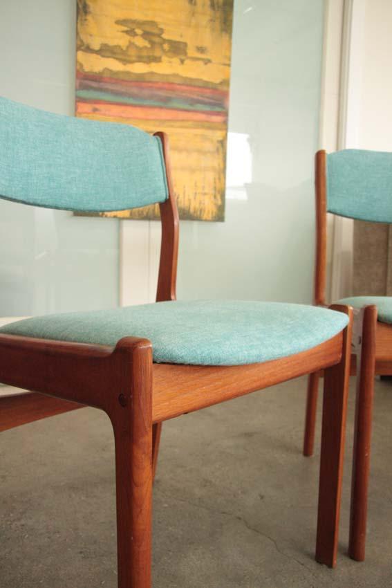 Mid century teak dining chairs.JPG