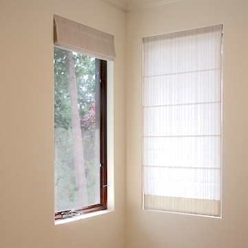 Sheer Roman Shades,  back tabbed with Eyelets