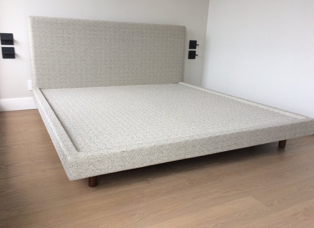 Fully slipcovered platform bed