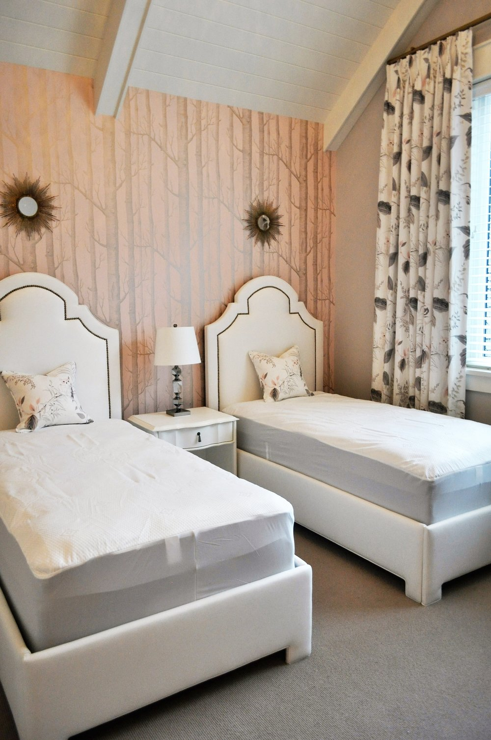Twin Beds with Nailed Headboard