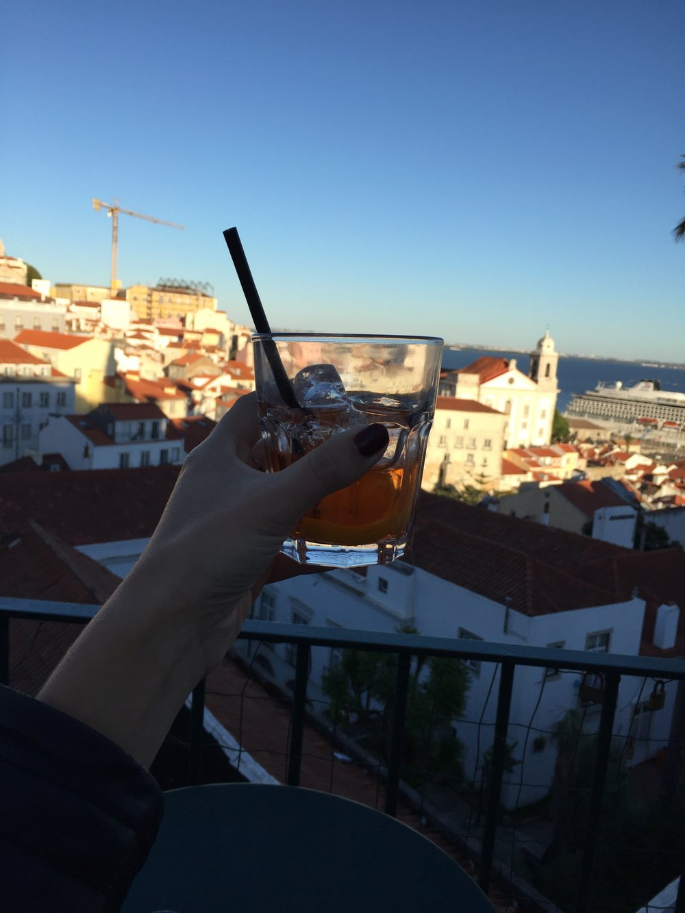 Aperol at the Miradouro das Portas do Sol in Alfama