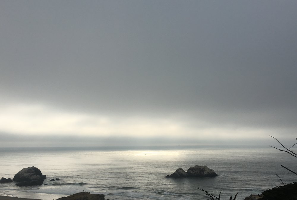 Karl the Fog taking over Sutro Baths in San Francisco, CA