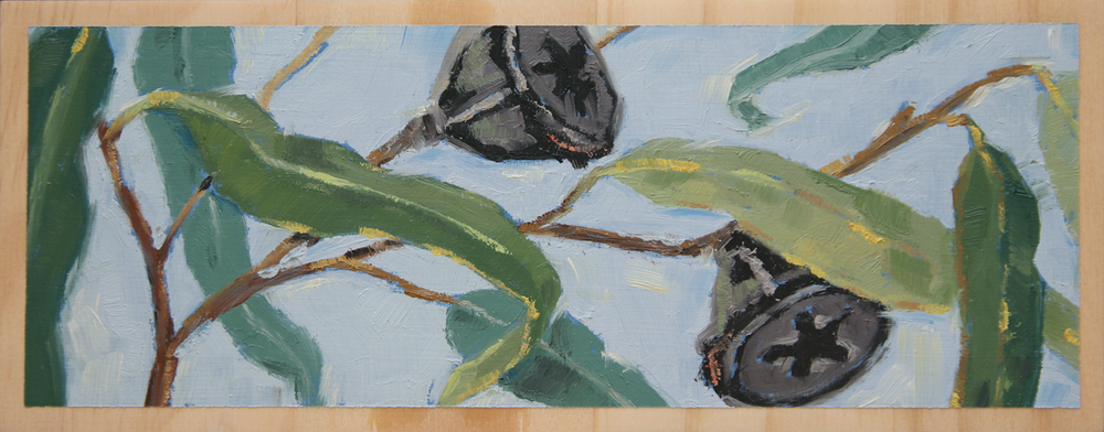 "'BRANCHING OUT'  8 1/4"" x 3 1/4"" (21 x 8.2cm) Oil on wood block."