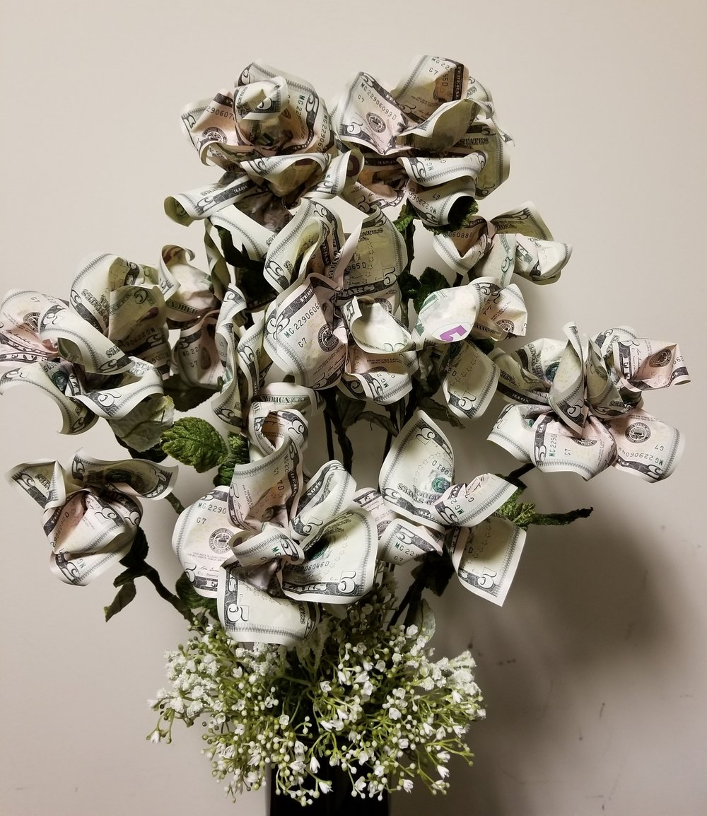 Money Roses made from $5 bills